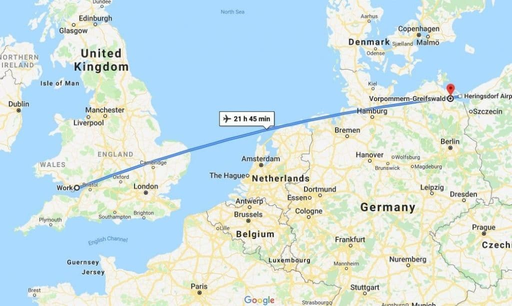 Map of how far the gull traveled
